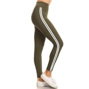 JVINI Women's Wide-Waist Athletic Striped Leggings